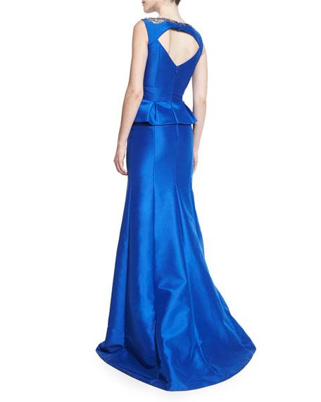 Sleeveless Pleated Peplum Gown