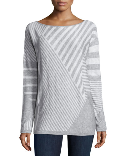 Op-Art Stripe Long-Sleeve Sweater, Heather Gray/White
