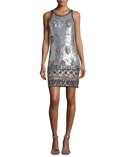 Arlenis Sleeveless Embellished Dress, Silver