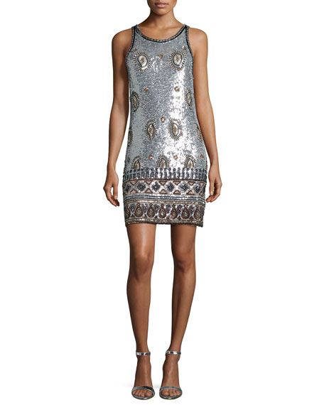 Calypso St. Barth Arlenis Sleeveless Embellished Dress, Silver