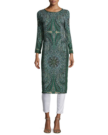 Calypso St. Barth Tito Long-Sleeve Printed Dress, Emerald