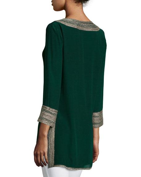 Sythia Embroidered 3/4-Sleeve Tunic, Seaweed