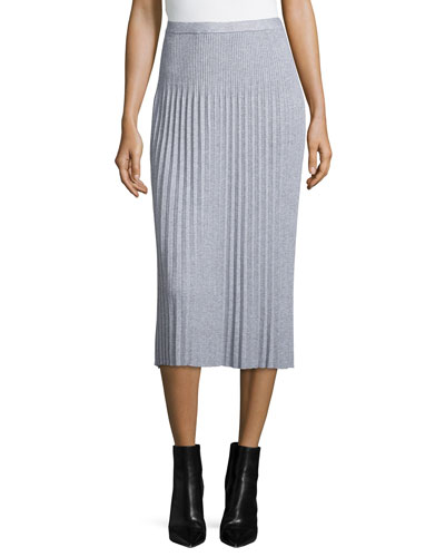 Midi Pleated Sweater-Knit Skirt