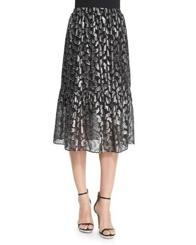 Garrett Metallic Paisley Jacquard Tiered Skirt