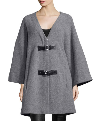 Long-Sleeve Buckle-Front Coat