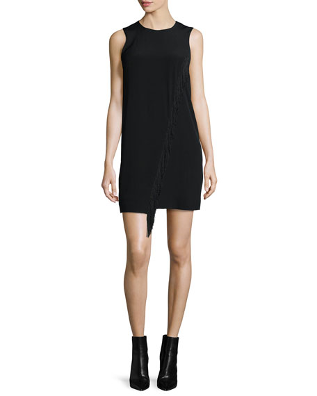 Sleeveless Fringe-Trim Silk Shift Dress, Black
