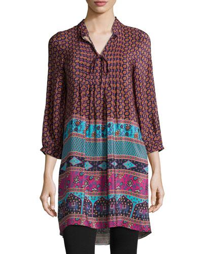 Tolani Sava 3/4-Sleeve Long Tunic/Dress