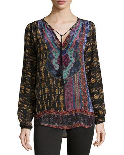 Marlena Tie-Neck Printed Tunic, Women's