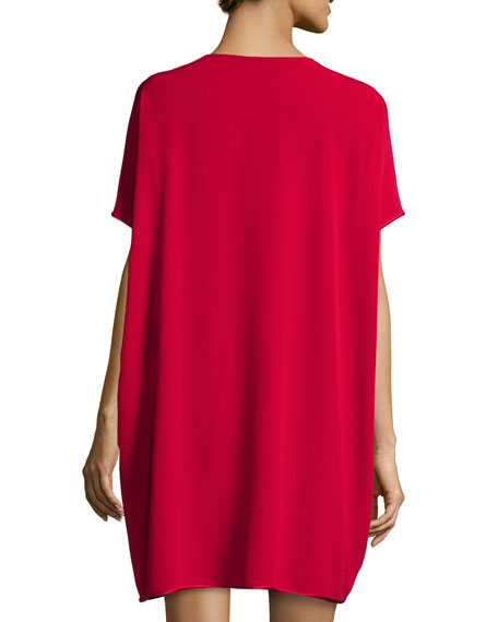 Kora Short-Sleeve Shift Dress, Lacquer Red