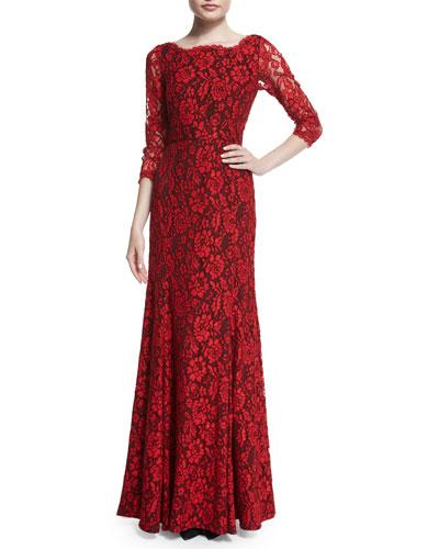 Zarita Floral-Lace Gown, Poppy/Black