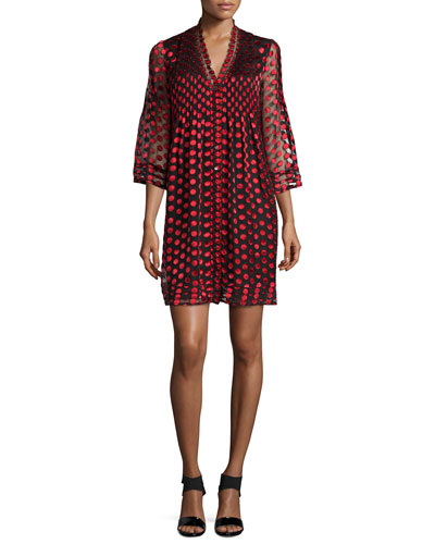 Layla 3/4-Sleeve Polka-Dot Sheath Dress, Black/Red