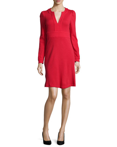Leyah Long-Sleeve Wool Dress, Poppy