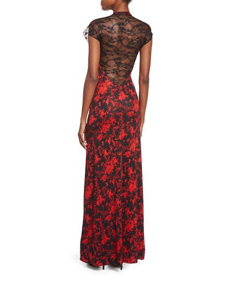 Faustine Silk Floral Daze Maxi Dress, Black/Red