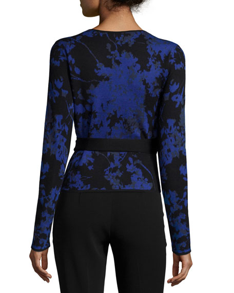 Floral Daze Wool Ballerina Sweater, Blue
