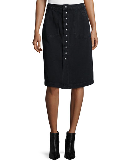 MiH Sonning Button-Front Skirt, Black