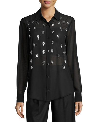 Long-Sleeve Embellished Blouse