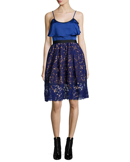 Self Portrait Sleeveless Delphinium Lace Combo Dress, Blue