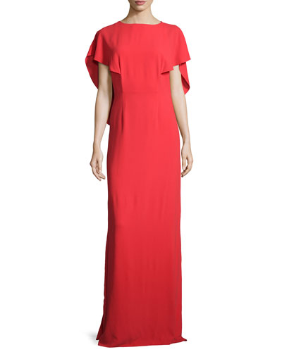 Cape-Sleeve Crepe Gown, Lipstick