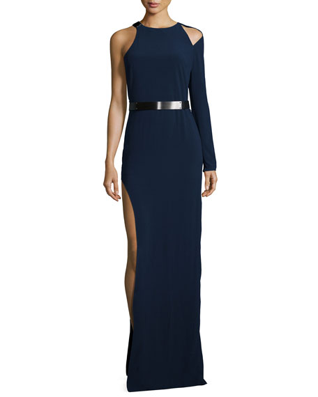 Halston Heritage Belted One-Sleeve Gown, Navy