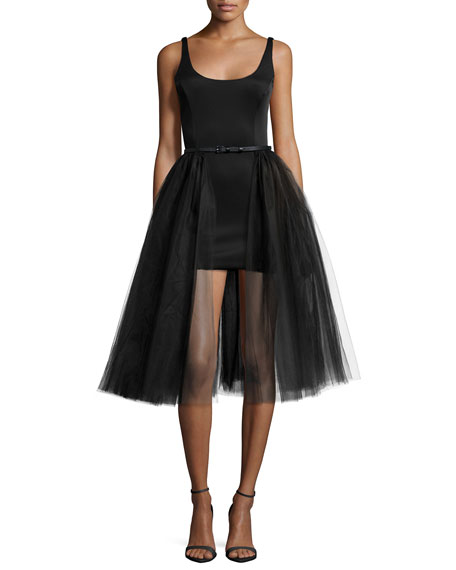 Halston Heritage Sleeveless Belted Cocktail Dress w/ Tulle Overlay, Black
