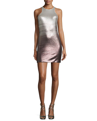 Sleeveless Sequined Fitted Cocktail Dress