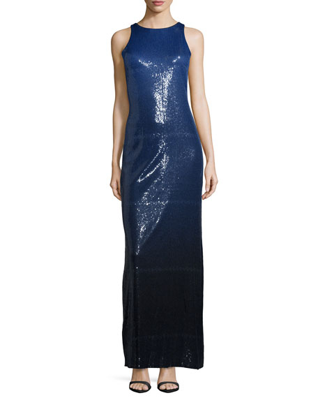 Halston Heritage Sleeveless Sequined Ombre Column Gown