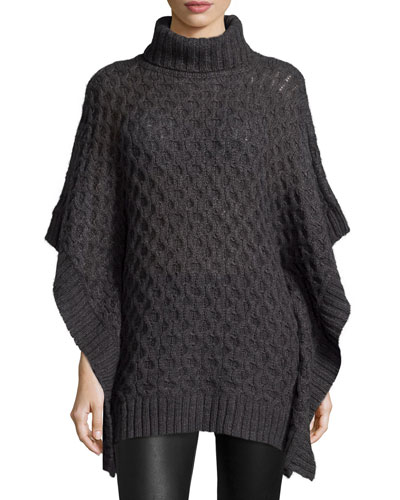 Turtleneck Textured Poncho Sweater