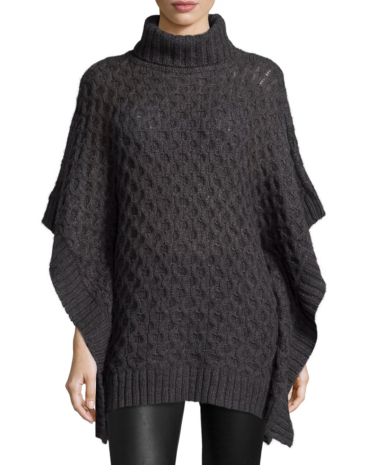 12476bb3170 MICHAEL Michael Kors Turtleneck Textured Poncho Sweater
