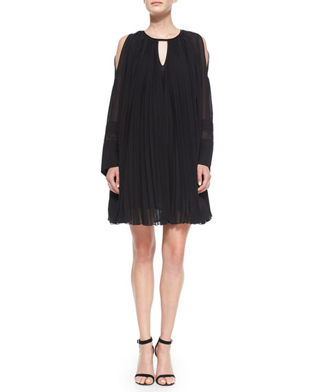 Just Cavalli Long-Sleeve Pleated Oversized Shift Dress, Black
