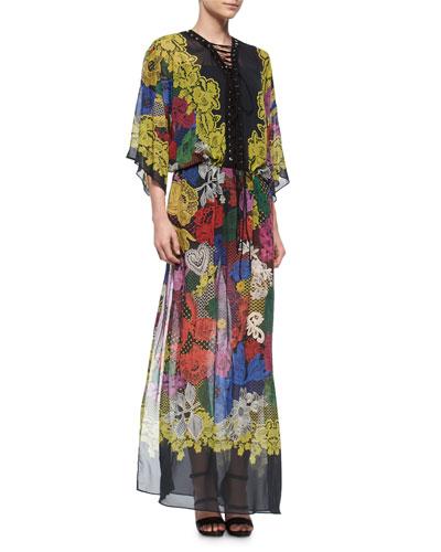 Lace-Up Romantic-Print Caftan Gown