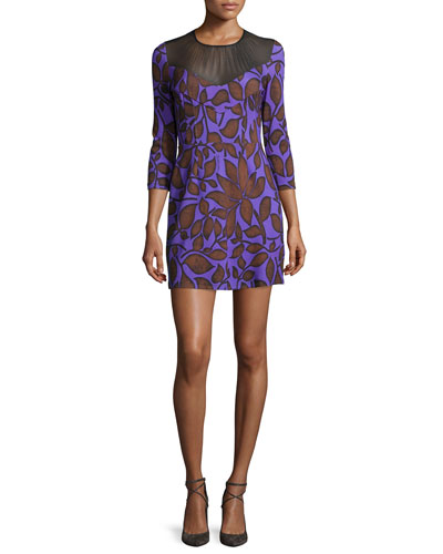 Leaf-Print 3/4-Sleeve Shift Dress, Violet