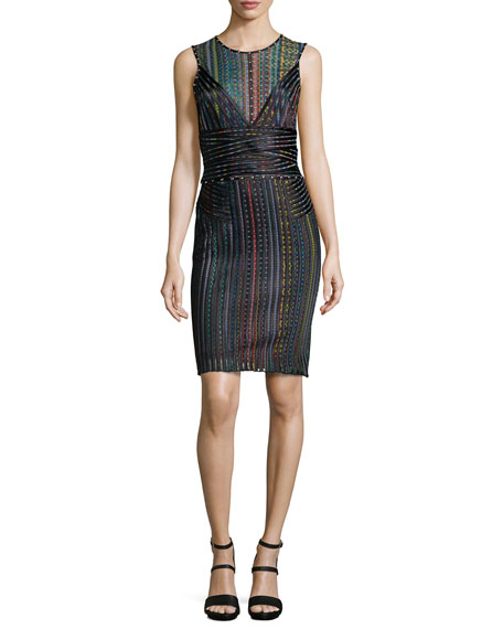 Just Cavalli Sleeveless Multi-Stripe Banded Sheath Dress, Multi