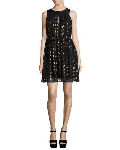 Leones Sleeveless Spot Jacquard Dress