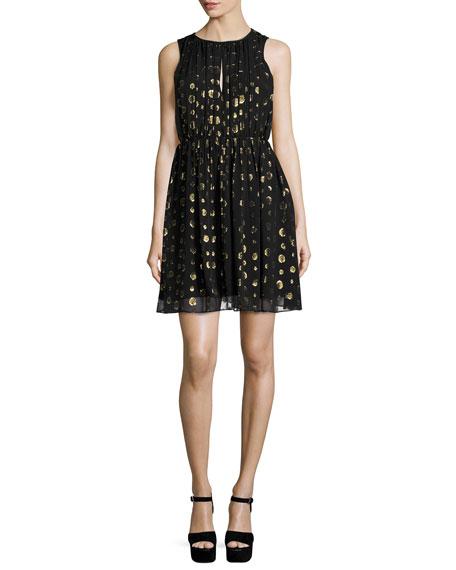MICHAEL Michael Kors Leones Sleeveless Spot Jacquard Dress