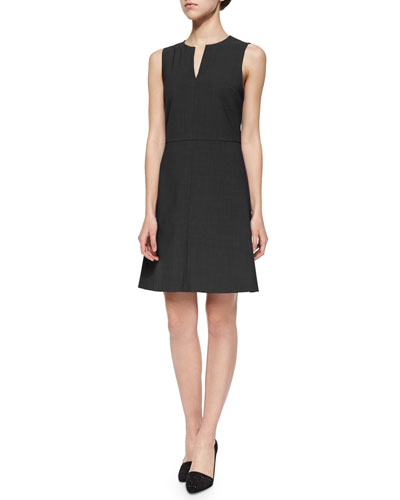 Miyani Split-Neck Suit Dress, Black