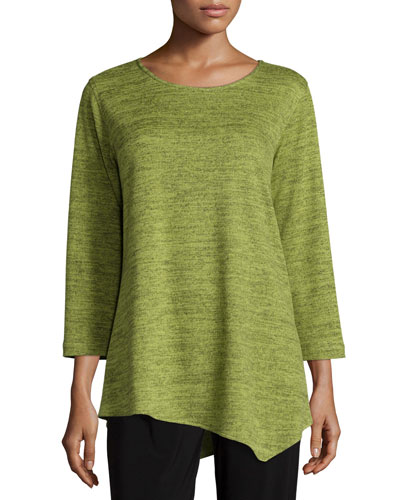 3/4-Sleeve Brushed Sweater-Knit Tunic, Women's