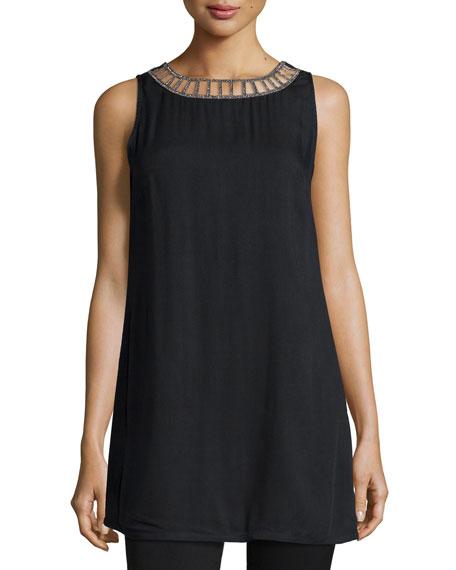 Allie Sleeveless Tank Mini Dress, Black