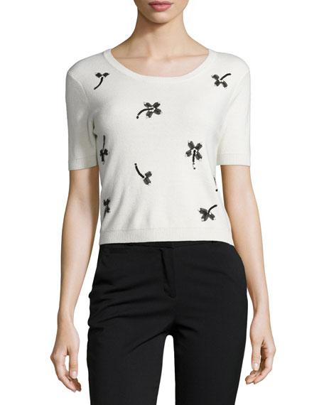 Sachin & Babi Noir Short-Sleeve Crop Top W/ Floral Applique