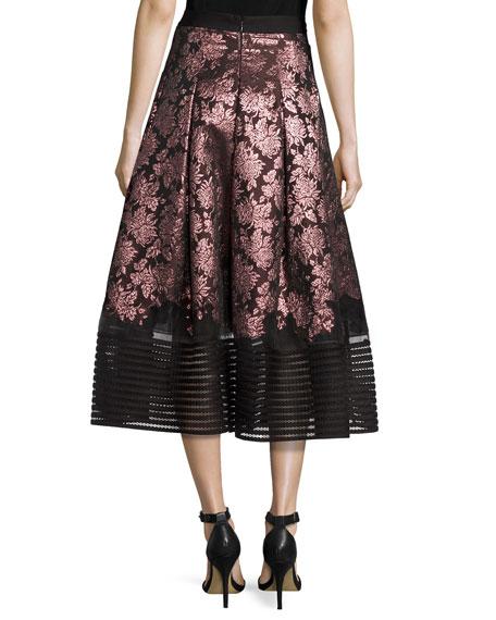 Haku Metallic Floral Jacquard Midi Skirt