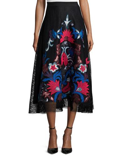 Jomei Embroidered Mesh Midi Skirt