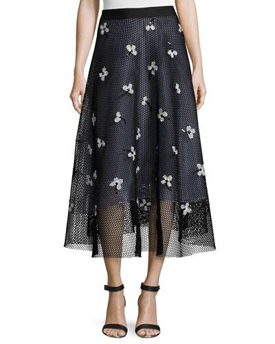 Ameya Embroidered Mesh Midi Skirt