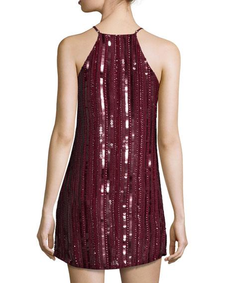 Blake Sleeveless Embellished Dress, Oxblood