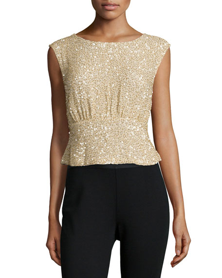 MLV Shawn Embellished Peplum Top, Gold
