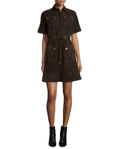 Short-Sleeve Patch-Pocket Suede Dress