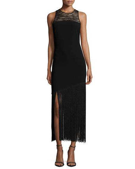 NM EXCLUSIVE Diane Sleeveless Fringe Hem Dress