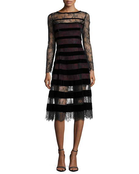 NM EXCLUSIVE Kira Long-Sleeve Lace Dress W/ Velvet