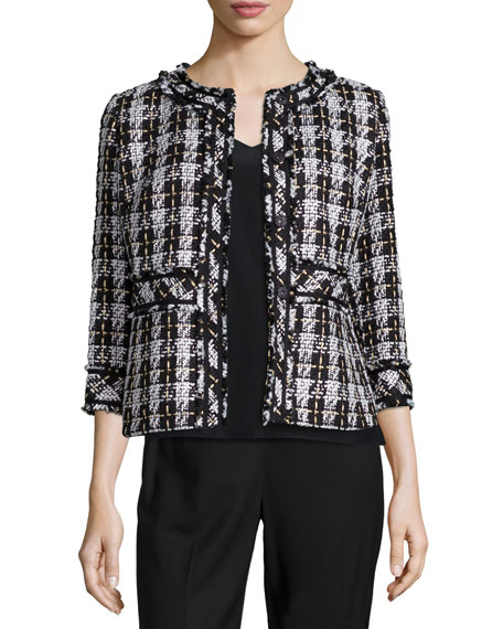 Lafayette 148 New York Reagan Tweed Snap-Front Jacket
