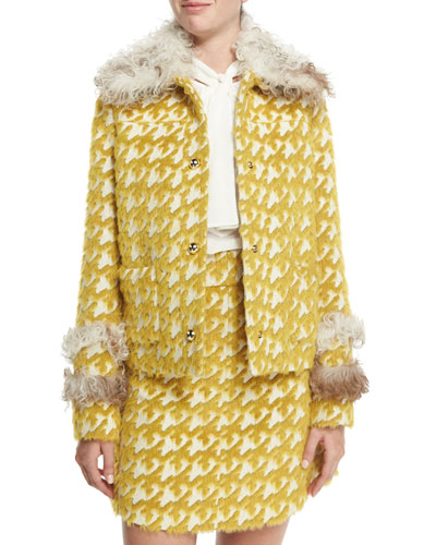 Fur-Trim Houndstooth Jacket