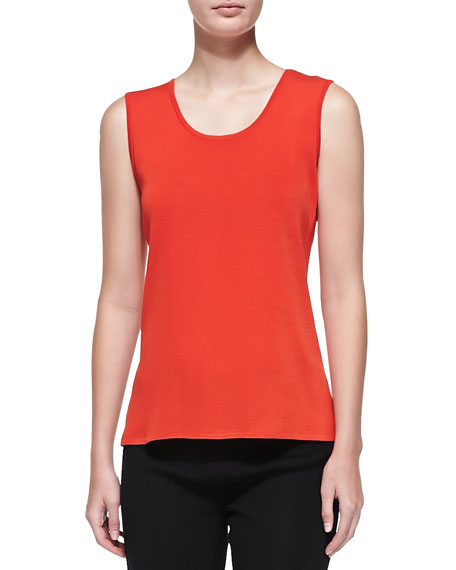 Misook Scoop-Neck Tank, Blood Orange, Petite