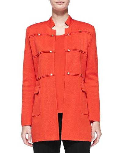 Studded Long Jacket, Blood Orange, Women's